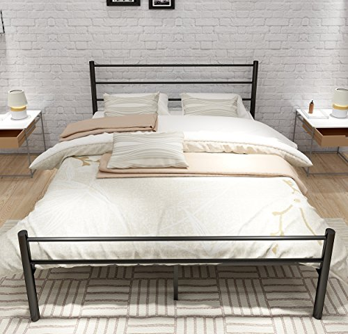 Metal Bed Frame With Headboard and Footboard/Mattress foundation ,Box Spring Replacement,Steel Slat Support (Headboard Footboard Platform Rails)