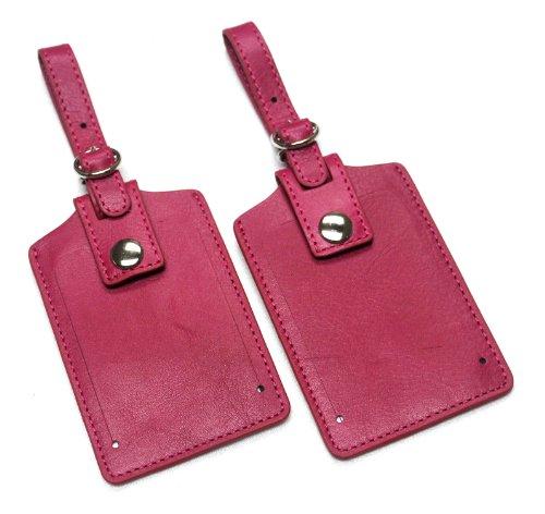 Fuchsia Leather Insert - Leather Luggage Tag, LT809 (Fuchsia 2-pk)