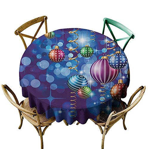 (Mkedci Oil-Proof and Leak-Proof Tablecloth Christmas Happy New Year Party Celebrations with Swirling Ornaments and Balls Festive Print Soft and Smooth Surface D67 Blue Gold )