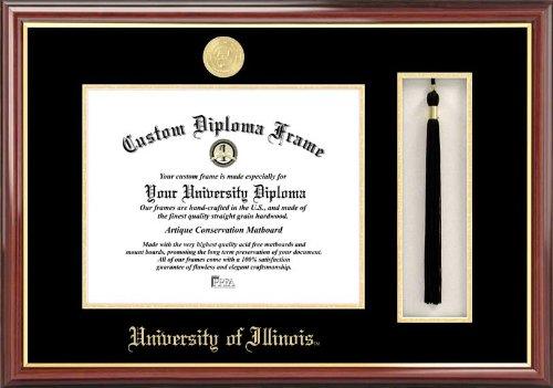 University of Illinois Fighting Illini - Gold Medallion - Tassel Box - Mahogany - Diploma Frame (Memorial Stadium Panoramic Print)