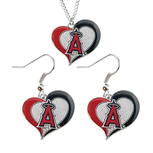 (aminco La Los Angeles Angels Swirl Heart Necklace and Dangle Earring Set MLB Charm Gift)