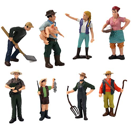 HanYoer 8 pcs Farmer Model Toys Realistic Female Male Farmer Figure Model Figurine Kids Toy Home Decor Action Figures Playsets