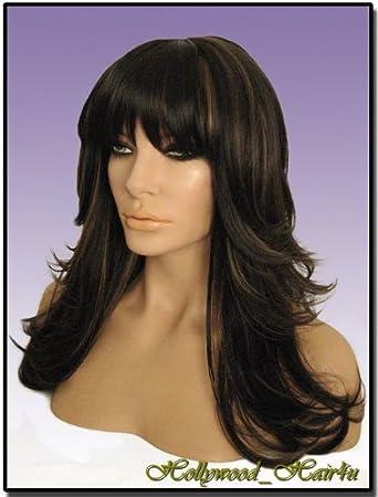 Hollywood Hair4u Long Razor Feathered Hl4 27 Dark Brown With Strawberry Blonde Highlights
