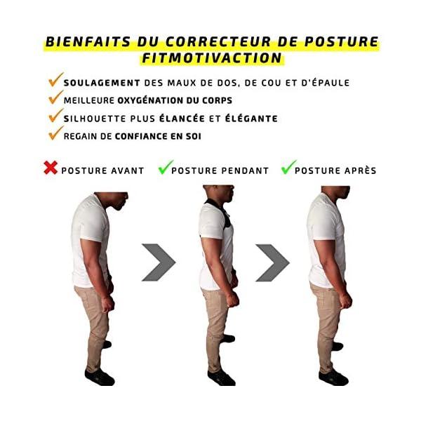 FitMotivaction Redresse Dos Correcteur de Posture Homme et Femme – Ceinture Maintien Dos et Épaules