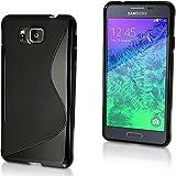 2010kharido S Line TPU Gel Silicone Rubber Soft Case Cover For Samsung Galaxy Alpha SM-G850 Black