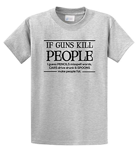 Comical Shirt Men's If Guns Kill People Pencils Misspell Words.. Funny Ash Grey M