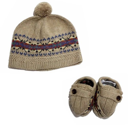 Polo Ralph Lauren Infant Boy's Cotton Fair Isle Knit Hat & Booties Set (6-9 Months, Khaki Heather) (Ralph Lauren Baby Boy Beanie)