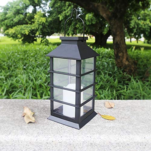 AicooFest Solar Lantern Outdoor Hanging Solar Candle Lights Decorative Table Lantern Waterproof Flameless LED Candles for Your Home Garden Table Patio