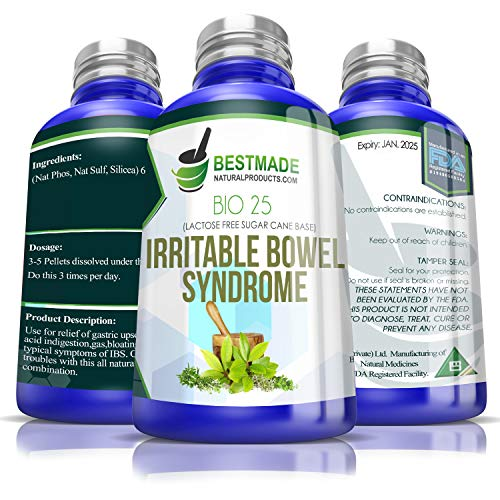 Irritable Bowel Syndrome (Bio25) - Lactose Free Formula, A Natural Remedy for Gas and Indigestion with Fast Relief of Stomach Acid
