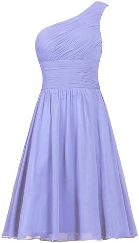 ANTS Women's Chiffon One Shoulder Bridesmaid Dresses Short Evening Dress