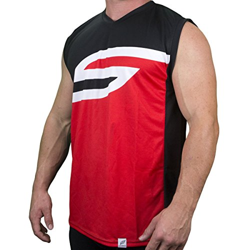 c46acf055 Social Paintball Sleeveless Jersey, Ying Yang Red Black White S with Mesh  Sides (Medium)