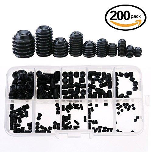 Glarks 200-Piece M3 4 5 6 8 Hex Allen Head Socket Set Screw Assortment Kit (12.9 class alloy steel)