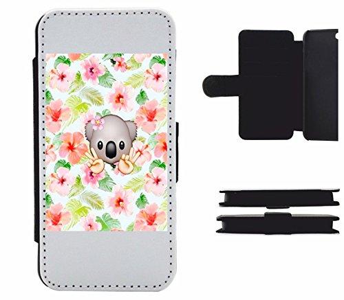 """Leder Flip Case Apple IPhone 6/ 6S """"Koalabärenkopf mit Blume und Bunten Blumen im Hintergrund"""", der wohl schönste Smartphone Schutz aller Zeiten."""