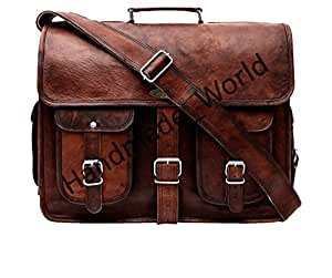 Handmade_world Leather Messenger Bag Brown 18 Inch Air Cabin Briefcase Leather Cross Body Shoulder Large Laptop School Bag