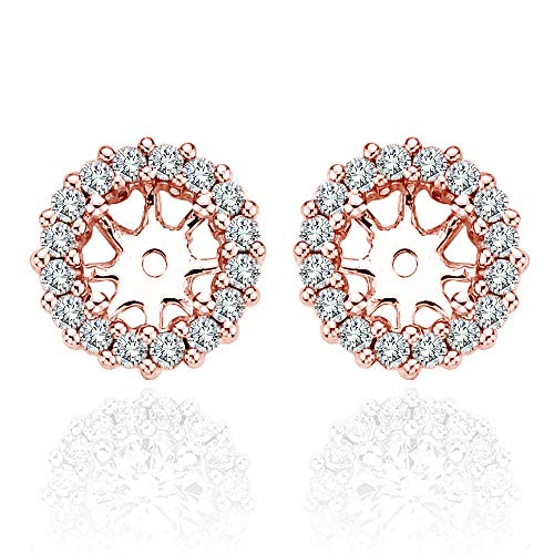 1.26 Carat White Diamond Earrings Jackets 5.5 MM1.50 Carat Total Weight 14K Rose Gold Halo Stud Solitaire