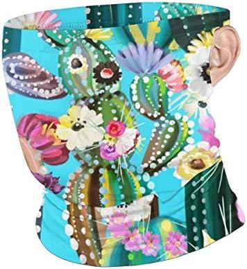 フェイスカバー Uvカット ネックガード 冷感 夏用 日焼け防止 飛沫防止 耳かけタイプ レディース メンズ Blooming Cactus
