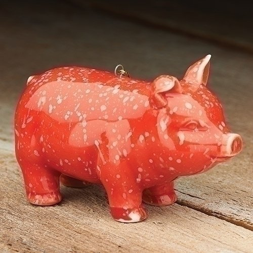 Prosperity Pig Red Speckled 3 x 2 Inch Glazed Ceramic Hanging Tree Ornament