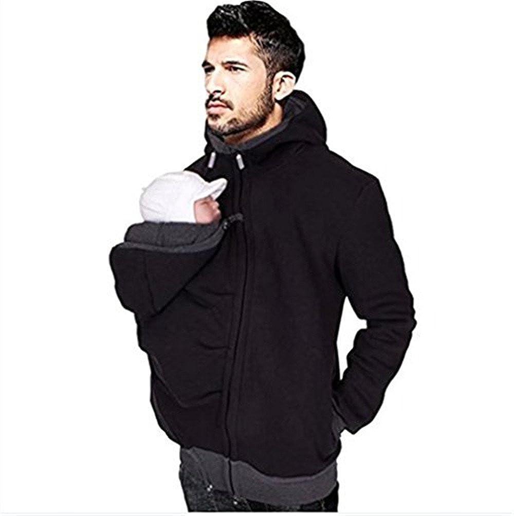Mens Kangaroo Fleece Zip Up Maternity Pullover Sweatshirts Hoodie Jackets Dad and Baby Carrier Coats