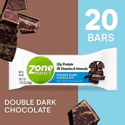 ZonePerfect Protein Bars, Double Dark Chocolate, 12g of Protein, Nutrition Bars With Vitamins & Minerals, Great Taste Guaranteed, 20 Bars