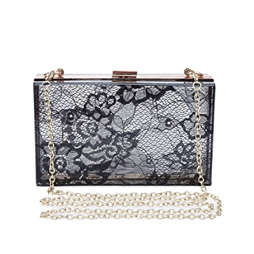 QZUnique Women's Elegant Floral Lace Transparent Evening Clutch Wedding Handbags Bridal Purse Party Shoulder Bag