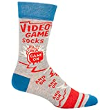 Blue Q Men's Novelty Crew Socks - Video Game (Mens Size 7-12) with Sock Ring
