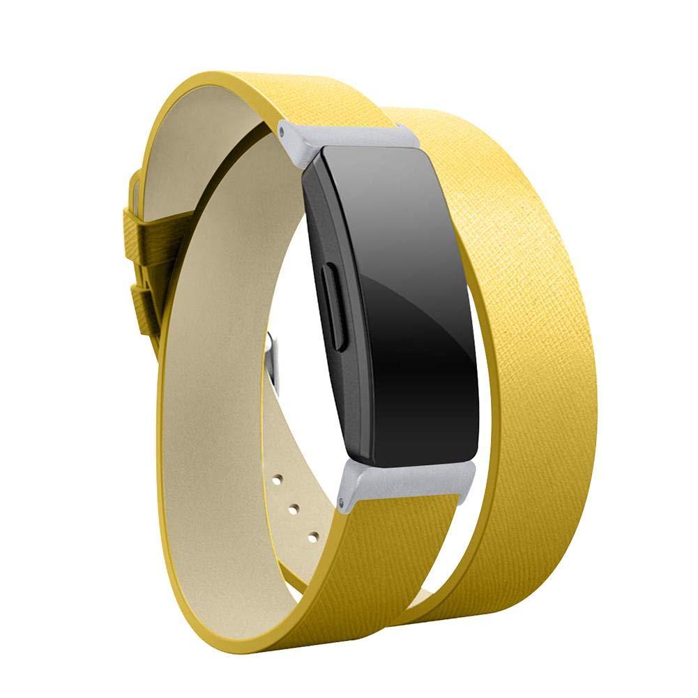 Taimot フィットネストラッカー用バンド Fitbit Inspire HR 本革バンド ラップブレスレットストラップ Fitbit Inspire HR フィットネストラッカー ダブルループレイヤーレザーウォッチベルト イエロー DA02765062YI6 B07QS1QWF5 イエロー