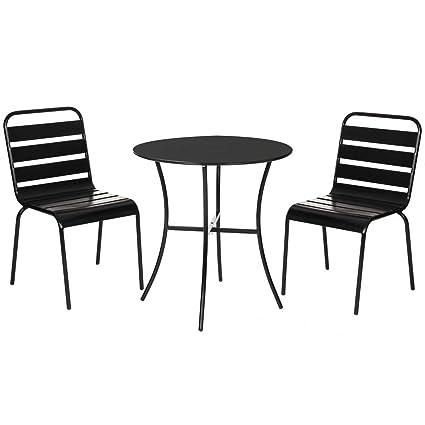 Conjunto de Mesa y sillas para terraza Negro de Acero Garden ...