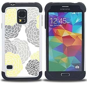 For Samsung Galaxy S5 I9600 G9009 G9008V - gray yellow white minimalist Dual Layer caso de Shell HUELGA Impacto pata de cabra con im??genes gr??ficas Steam - Funny Shop -