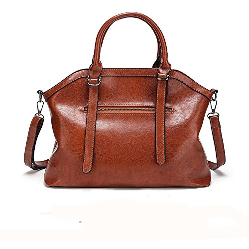 FangYOU1314 Color Capacity Shoulder Large Red Brown Ms Messenger Leisure Comfort Oil Soft Face Bag Laptop Wax wn8HAOwCrq