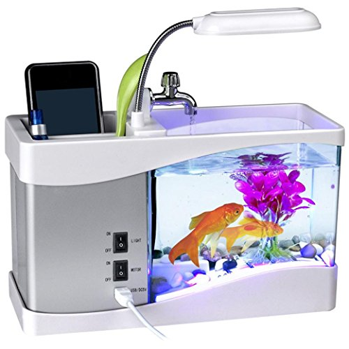Mini USB LCD Desktop Aquarium Lamp Light Fish Tank Timer Calendar Clock Desk Pen Holder 6 White LED and 2 Colour-Changing LED - 24 x 20 x 9.7cm (White) by Buyeverything