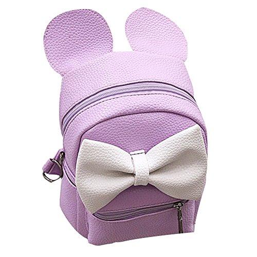 (Women Girls Cute Mini Backpack Casual Travel Mouse Ear PU Leather Shoulder School Bag Rucksack Daypacks, Purple, One Size)