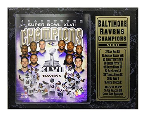 Encore Select 521-05 NFL Baltimore Ravens Super Bowl XLVII Championship Team Biggest Stars Plaque, 12-Inch by (Basketball Championship Plaque)