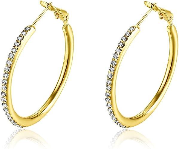 Women/'s Gold Tone Stainless Steel Round Circle Rhinestone Pierced Hoop Earrings