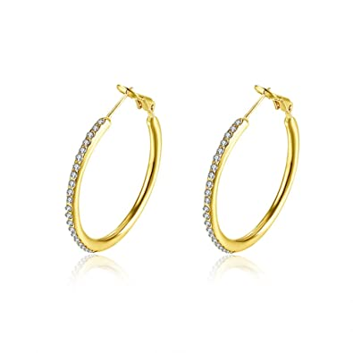 28e64066c5 35mm Huggie Circle CZ Hoop Earrings, Hypoallergenic Stainless Steel Cubic  Zirconia Rhinestone Crystal Round Stud Hoops For Women Girls Sensitive ears