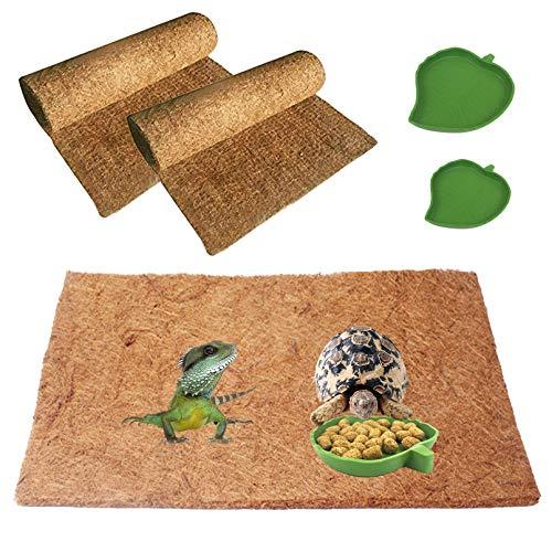 KATHSON 파충류의 카펫 2 팩 천연 코코넛섬유 도마뱀을 매트 애완 동물 테라리움 기판이너 침구 패드 2 팩 잎 모양의 파충류를 먹이는 그릇에 대한 도마뱀 뱀 카멜레온 TURTLE