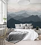 Mountain Mural Wall Art Wallpaper - Grayish Navy Pale Pink - Peel and Stick - by Simple Shapes (5 sheet pack - 2ft x 8ft)