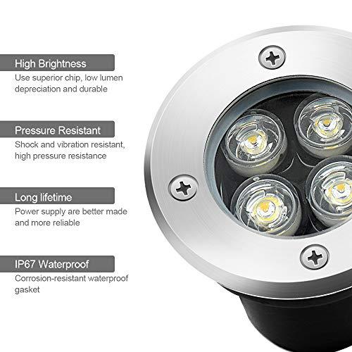 LED Landscape Lights, Sunriver 4W Low Voltage Well Lights IP67 Waterproof Outdoor In-ground High Bright Landscape Lights with Transformer 12V 24V Yard Spotlight (6 Pack, Warm White) by SUNRIVER (Image #1)
