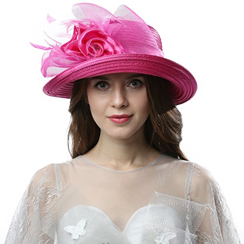 Original One Women's Cloche Bowler Hats KDC1701 for Kentucky Derby Day, Church, Wedding, Tea Party and More Formal Occasion (Fuschia)