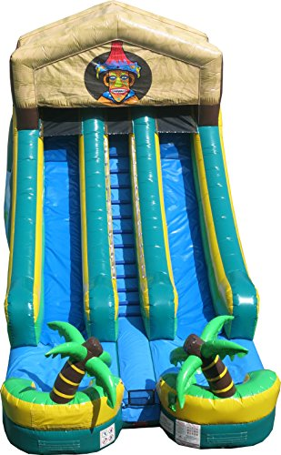 30' Inflatable (Double Lane Tiki-Style 30-Foot Long by 14-Foot Wide by 18-Foot Long Wet or Dry Inflatable Commercial Grade Water Slide with Included 1.5 HP Blower and Stakes)