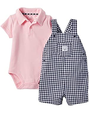 Carters Infant Boys 2-Piece Pink Bodysuit Navy Checkered Shortall Shorts Set