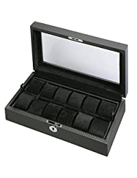 Men's 12 Watch Box Storage w/ Removable Tray and Display Top