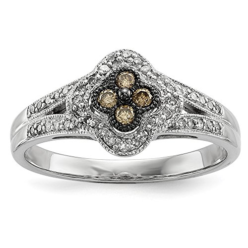 Size 7 Solid 925 Sterling Silver Champagne Diamond Small Flower Ring (2mm) (1/4ct.) (Champagne Diamond Flower Ring)