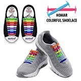Homar Adult Elastic No Tie Athletic Shoelaces - Best in Sports Fan Shoelaces - Waterproof Silicon Decorative Shoe Laces Perfect for Sneaker Boots Board Shoes and Casual Shoes - Colorful Reviews