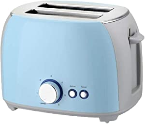 Stainless Steel Toaster, Multi-Function Two-Piece Toaster, Fully Automatic 800W Home Toaster with Defrost & Cancel,Blue