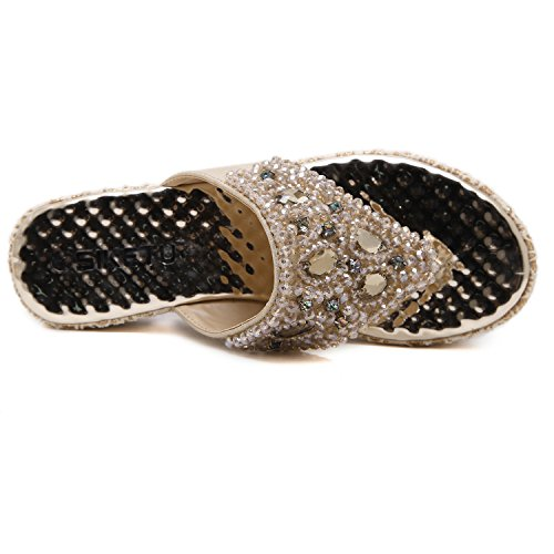 DQQ Femme Plate-Forme de Perles String Wedge Sandal - Or - 1,