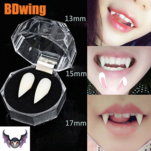 Vampire Teeth - Bdwing BD07 Funny Horror Trick Toy Goofy Fake Vampire Fangs Dentures, Great Party Favors For Cosplay Prop Halloween Decoration Props Costume Accessory, 6pcs/3 Pairs(13mm 15mm 17mm)