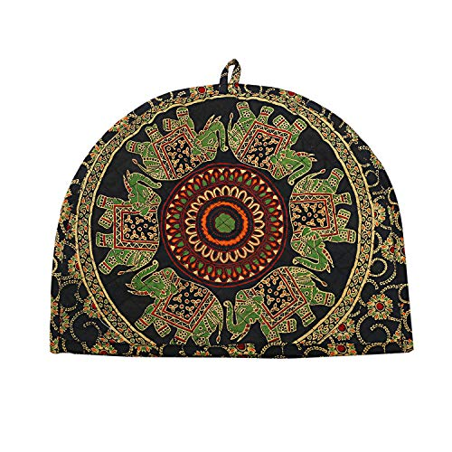 Indian Cotton Mandala Green Tea Cosy Elephant Printed Abstract Tea Pot Décor Cover Traditional Tea Quilt Floral Warmer Tea Cozies Insulated Gift