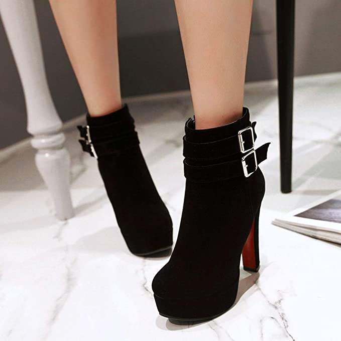 Amazon.com: Hunzed women shoes Buckle Round Head high Heel Thick Ankle Boots: Arts, Crafts & Sewing