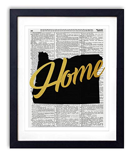 Oregon Home Gold Foil Art Print - Vintage Dictionary Reproduction Art Print