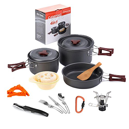 Camping Cooking Set, iDeep 16pcs Lightweight Cookware Pot Pan Cookset with Cook Stove Canister Stand Folding Spoon Kit Waiters Corkscrew Carabiner For Hiking Backpacking